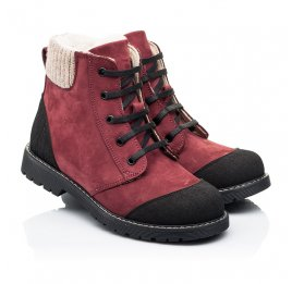 Детские зимние ботинки на шерсти Woopy Orthopedic бордовые для девочек натуральный нубук размер 28-28 (7162) Фото 1