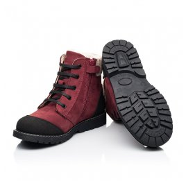 Детские зимние ботинки на шерсти Woopy Orthopedic бордовые для девочек натуральный нубук размер 28-28 (7162) Фото 2