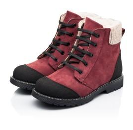 Детские зимние ботинки на шерсти Woopy Orthopedic бордовые для девочек натуральный нубук размер 28-28 (7162) Фото 3