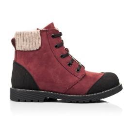 Детские зимние ботинки на шерсти Woopy Orthopedic бордовые для девочек натуральный нубук размер 28-28 (7162) Фото 4