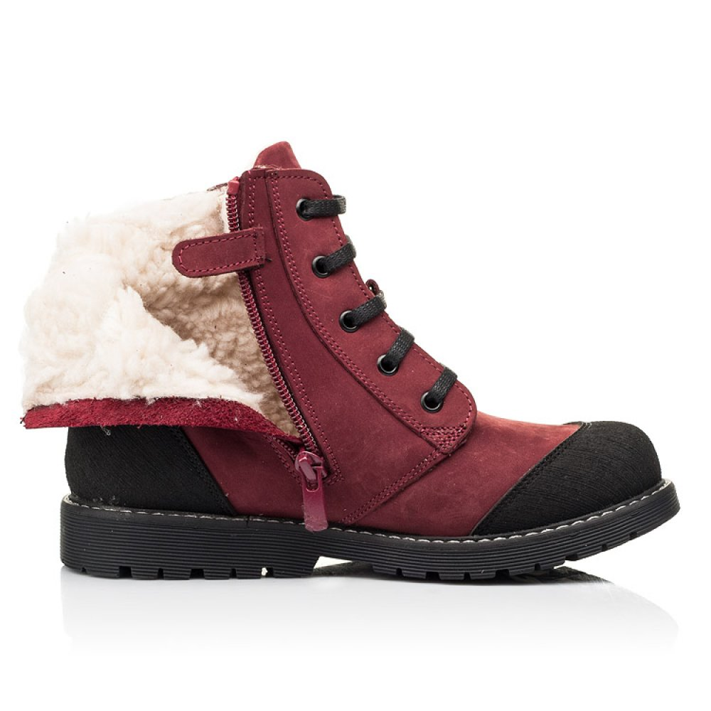 Детские зимние ботинки на шерсти Woopy Orthopedic бордовые для девочек натуральный нубук размер 28-40 (7162) Фото 5