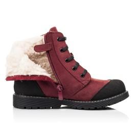 Детские зимние ботинки на шерсти Woopy Orthopedic бордовые для девочек натуральный нубук размер 28-28 (7162) Фото 5