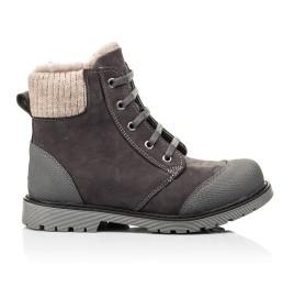 Детские зимние ботинки на меху Woopy Orthopedic серые для девочек натуральный нубук размер - (7163) Фото 4