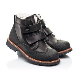 Детские зимние ботинки на шерсти Woopy Orthopedic черные для мальчиков натуральная кожа размер 23-27 (7164) Фото 1