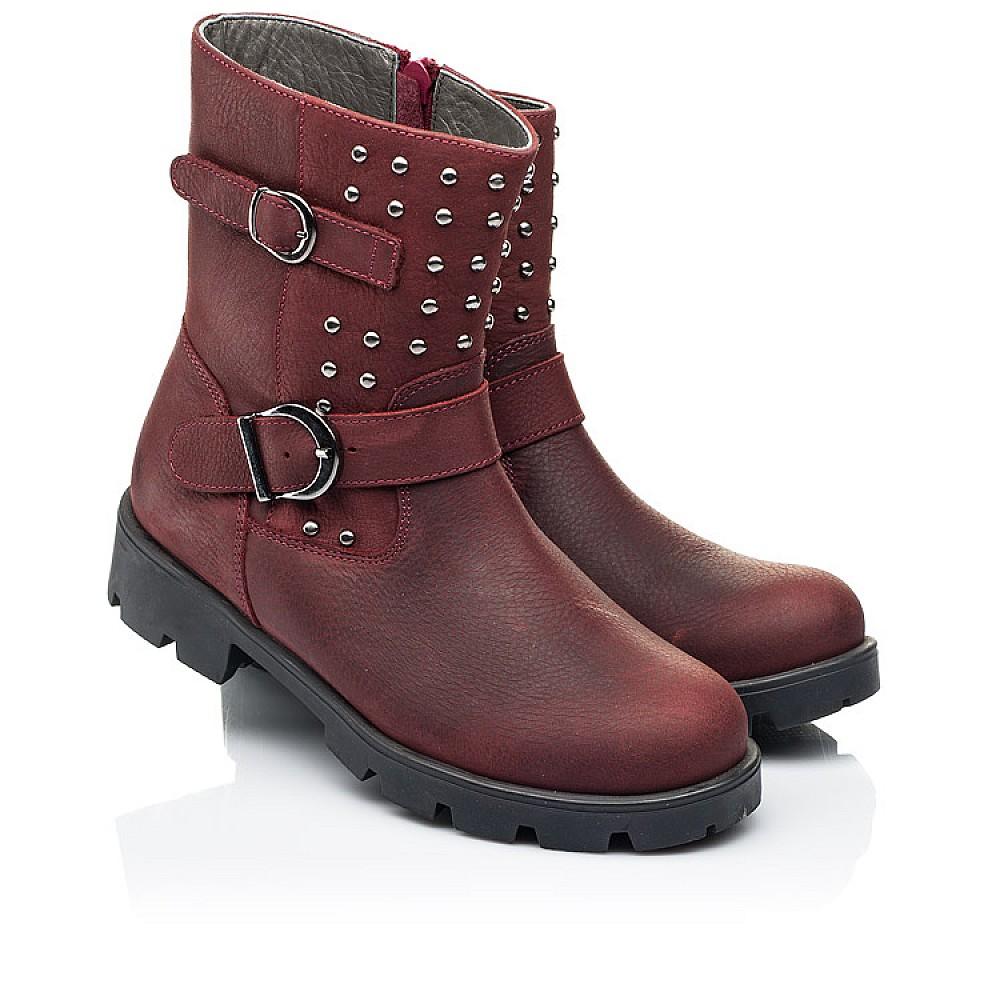 Детские демисезонные ботинки Woopy Orthopedic бордовые для девочек натуральный нубук размер 32-39 (7166) Фото 1
