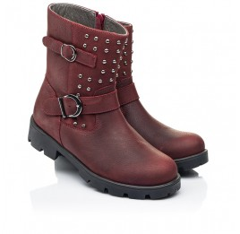 Детские демисезонные ботинки Woopy Orthopedic бордовые для девочек натуральный нубук размер 33-39 (7166) Фото 1