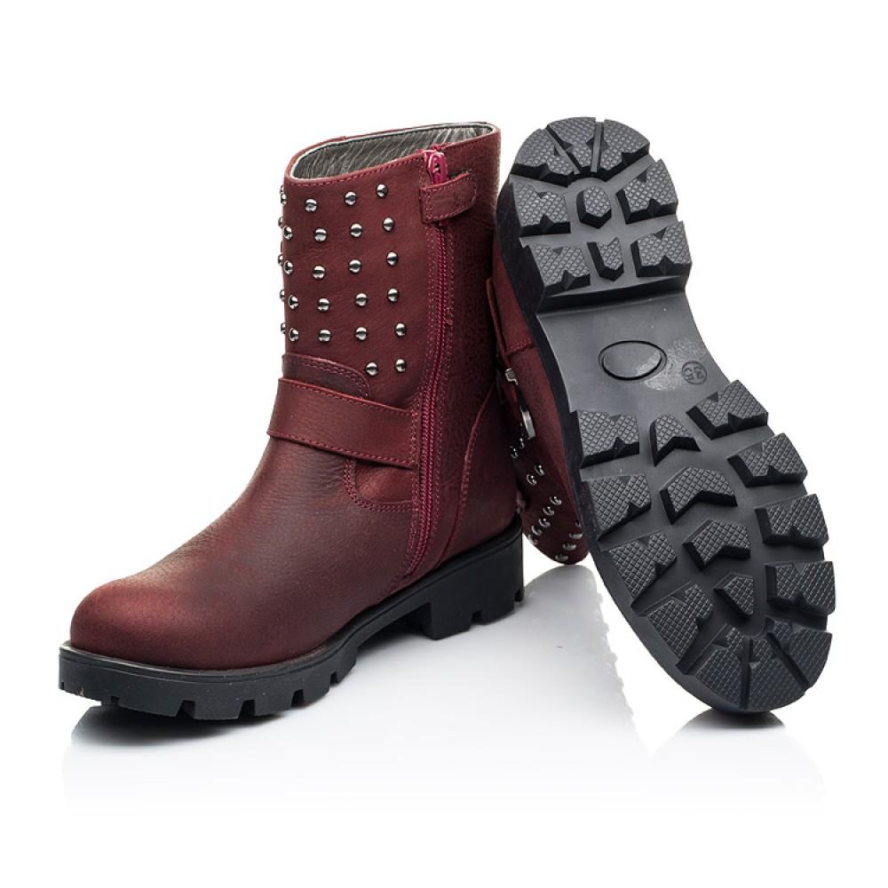 Детские демисезонные ботинки Woopy Orthopedic бордовые для девочек натуральный нубук размер 32-39 (7166) Фото 2