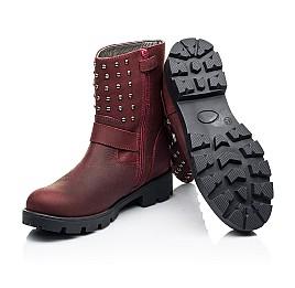 Детские демисезонные ботинки Woopy Orthopedic бордовые для девочек натуральный нубук размер 33-39 (7166) Фото 2