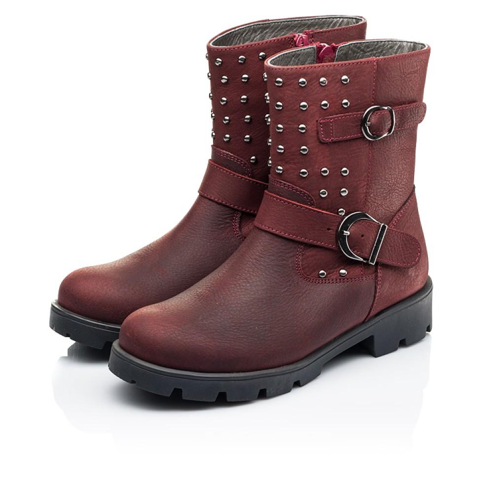 Детские демисезонные ботинки Woopy Orthopedic бордовые для девочек натуральный нубук размер 32-39 (7166) Фото 3