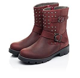 Детские демисезонные ботинки Woopy Orthopedic бордовые для девочек натуральный нубук размер 33-39 (7166) Фото 3