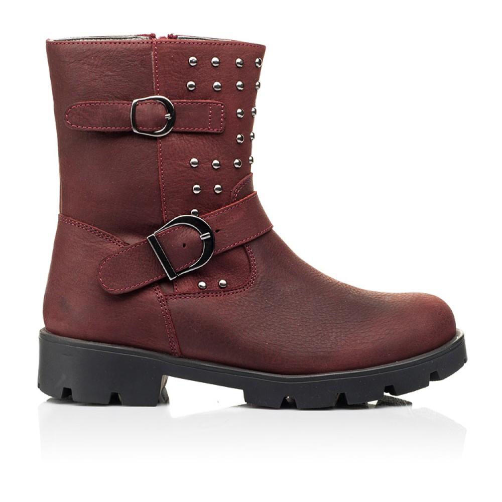 Детские демисезонные ботинки Woopy Orthopedic бордовые для девочек натуральный нубук размер 32-39 (7166) Фото 4
