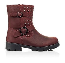Детские демисезонные ботинки Woopy Orthopedic бордовые для девочек натуральный нубук размер 33-39 (7166) Фото 4