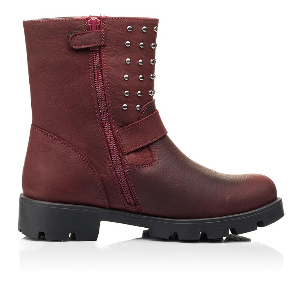 Детские демисезонные ботинки Woopy Orthopedic бордовые для девочек натуральный нубук размер 32-39 (7166) Фото 5