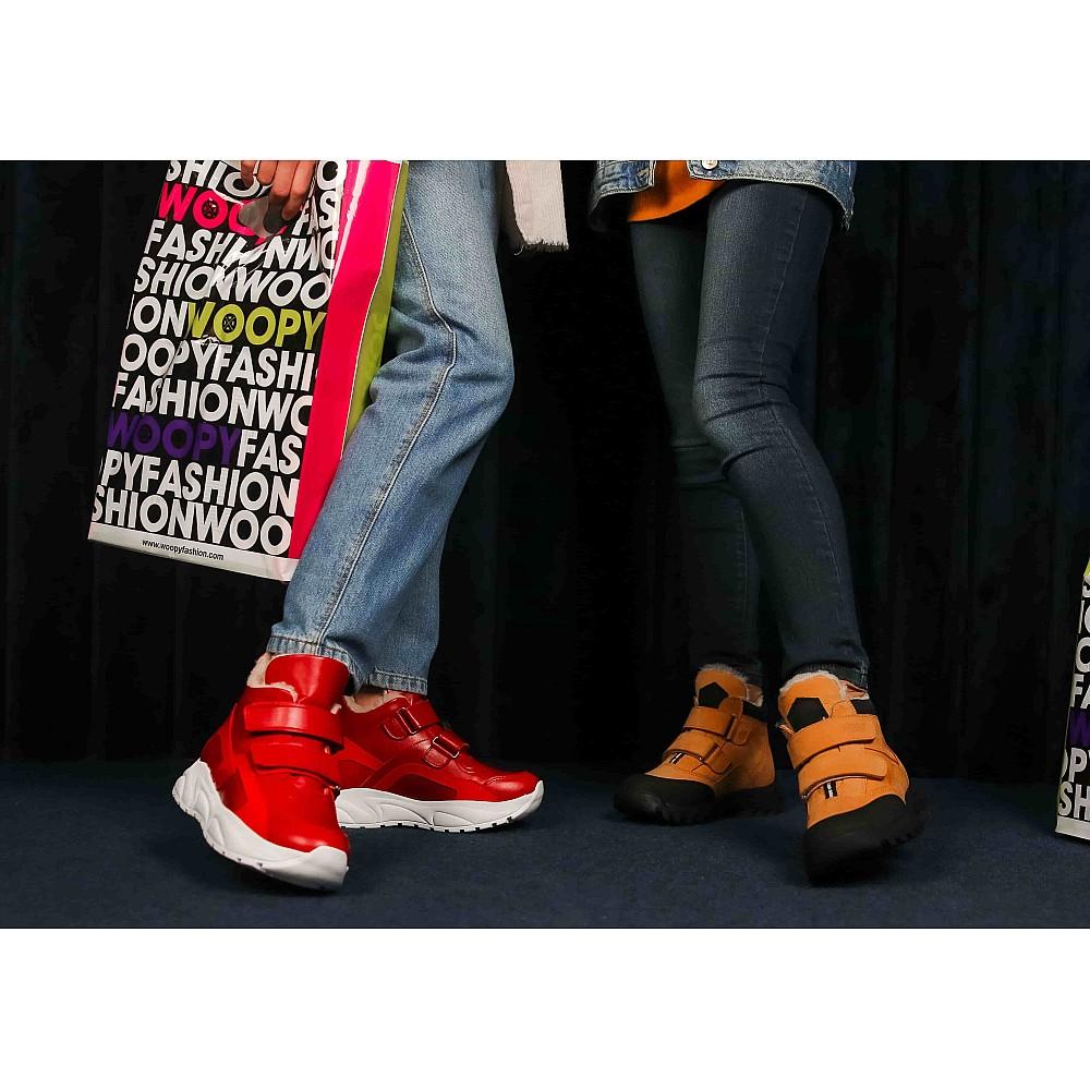 Детские зимние ботинки на шерсти Woopy Orthopedic рыжие для девочек натуральный нубук размер 21-38 (7168) Фото 6