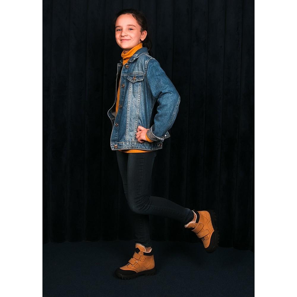 Детские зимние ботинки на шерсти Woopy Orthopedic рыжие для девочек натуральный нубук размер 21-38 (7168) Фото 7
