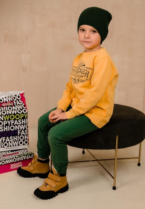 Девочка обута в детские зимние ботинки на шерсти Woopy Orthopedic рыжие (7168) Фото 2