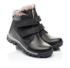 Детские зимние ботинки на меху Woopy Orthopedic черные для мальчиков натуральный нубук, кожа размер 31-37 (7170) Фото 1