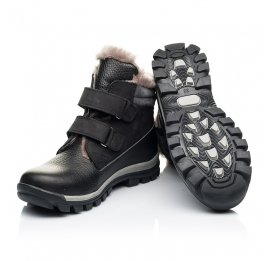 Детские зимние ботинки на меху Woopy Orthopedic черные для мальчиков натуральный нубук, кожа размер 31-37 (7170) Фото 2