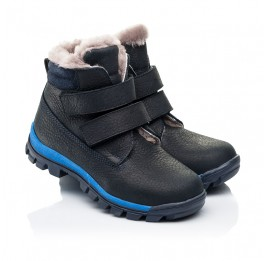 Детские зимние ботинки на меху Woopy Fashion темно-синие для мальчиков натуральный нубук OIL размер 22-30 (7172) Фото 1