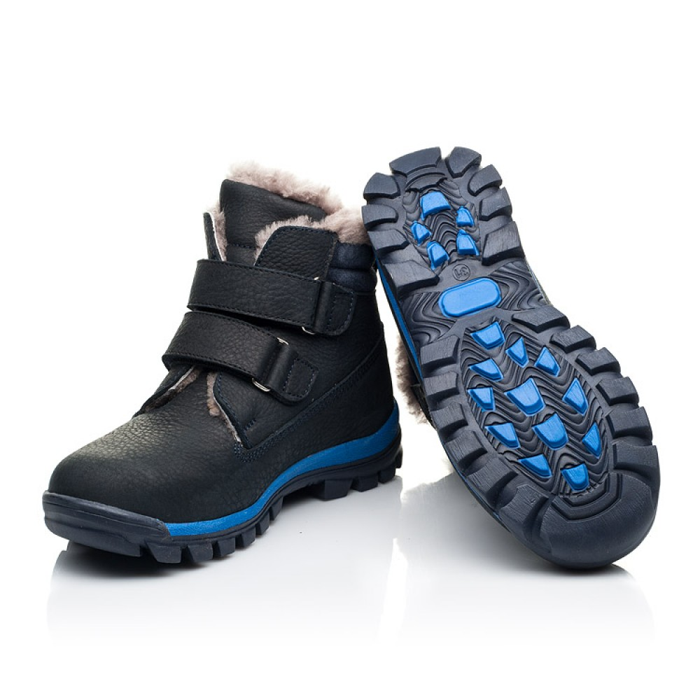 Детские зимние ботинки на меху Woopy Fashion темно-синие для мальчиков натуральный нубук OIL размер 22-40 (7172) Фото 2
