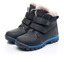 Детские зимние ботинки на меху Woopy Fashion темно-синие для мальчиков натуральный нубук OIL размер 22-30 (7172) Фото 3