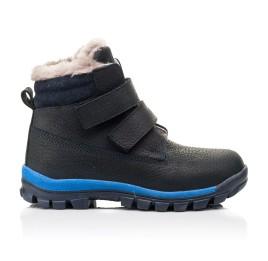 Детские зимние ботинки на меху Woopy Fashion темно-синие для мальчиков натуральный нубук OIL размер 22-30 (7172) Фото 4