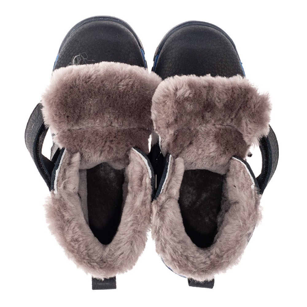 Детские зимние ботинки на меху Woopy Fashion темно-синие для мальчиков натуральный нубук OIL размер 22-40 (7172) Фото 5