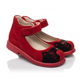 Детские туфли Woopy Orthopedic красные для девочек натуральная замша размер 22-32 (7173) Фото 1