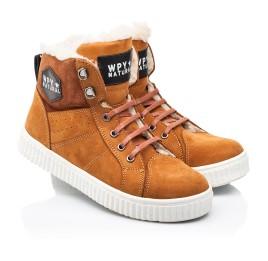 Детские зимние ботинки на шерсти Woopy Fashion рыжие для девочек натуральный нубук размер 28-31 (7174) Фото 1
