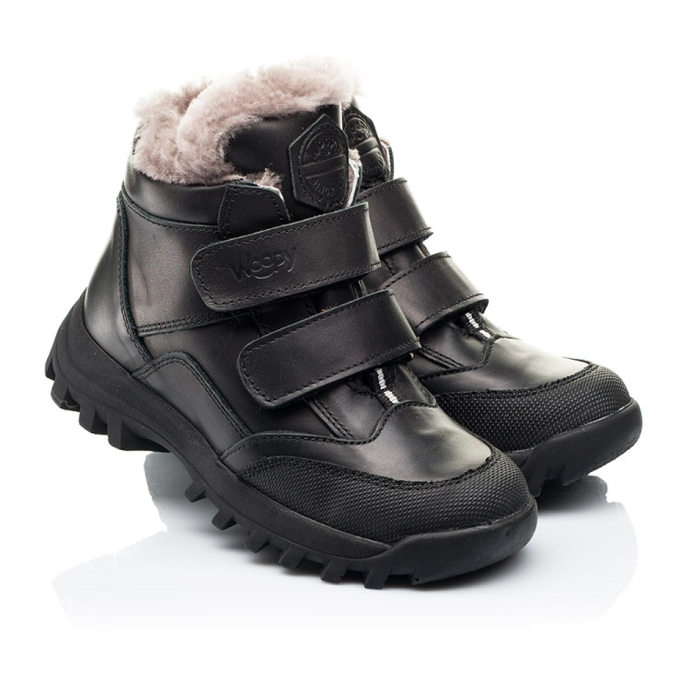 Детские зимние ботинки на меху Woopy Fashion черные для мальчиков натуральная кожа размер 22-40 (7176) Фото 1