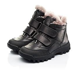 Детские зимние ботинки на меху Woopy Fashion черные для мальчиков натуральная кожа размер 22-37 (7176) Фото 3