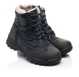 Детские зимние ботинки на меху Woopy Fashion темно-синие для мальчиков натуральный нубук OIL размер 24-27 (7177) Фото 1