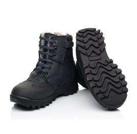 Детские зимние ботинки на меху Woopy Fashion темно-синие для мальчиков натуральный нубук OIL размер 24-27 (7177) Фото 2