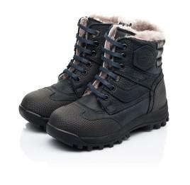 Детские зимние ботинки на меху Woopy Fashion темно-синие для мальчиков натуральный нубук OIL размер 24-27 (7177) Фото 3