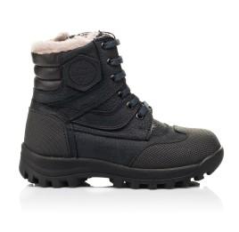 Детские зимние ботинки на меху Woopy Fashion темно-синие для мальчиков натуральный нубук OIL размер 24-27 (7177) Фото 4