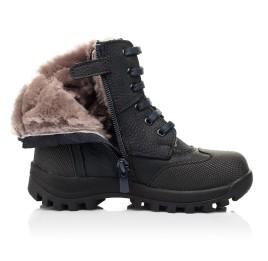 Детские зимние ботинки на меху Woopy Fashion темно-синие для мальчиков натуральный нубук OIL размер 24-27 (7177) Фото 5