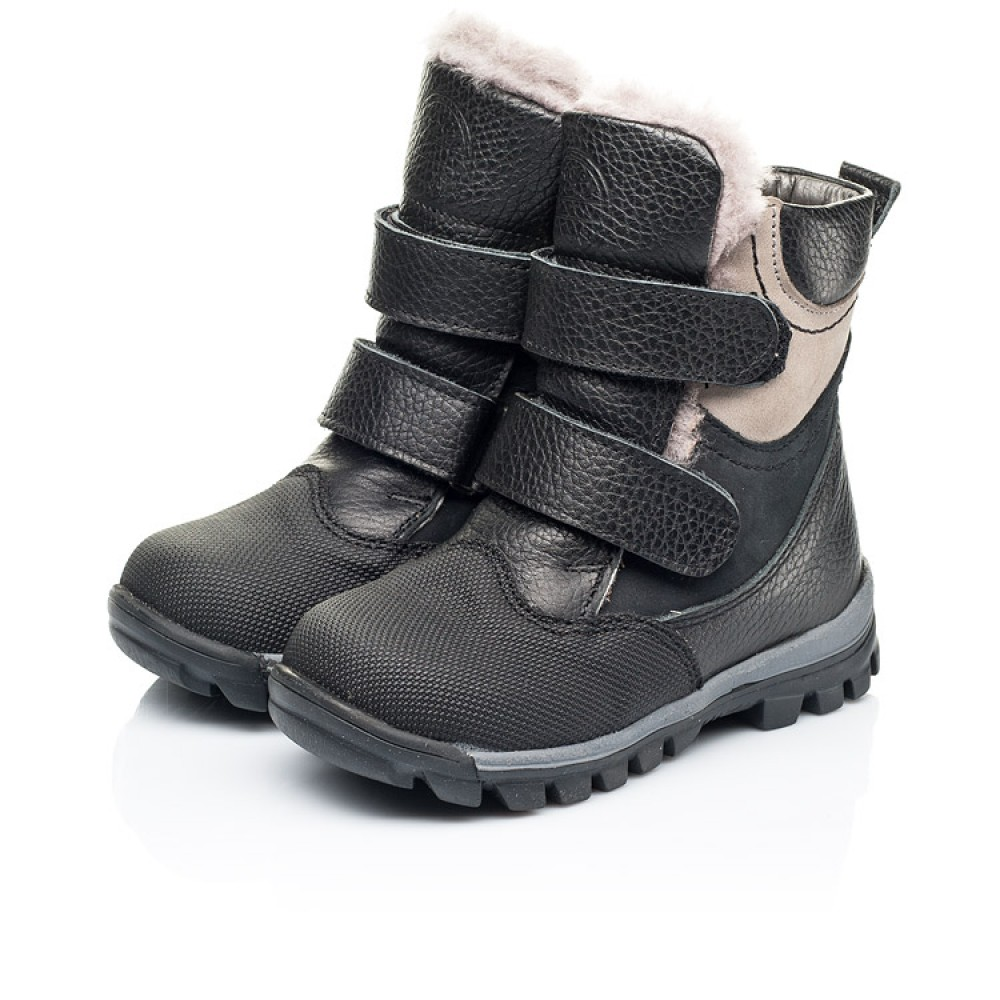 Детские зимние ботинки на меху Woopy Fashion черные для мальчиков натуральная кожа и нубук размер 21-33 (7179) Фото 3
