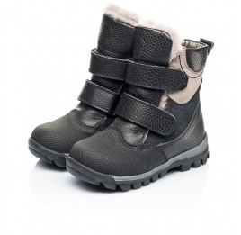 Детские зимние ботинки на меху Woopy Fashion черные для мальчиков натуральная кожа и нубук размер 21-21 (7179) Фото 3