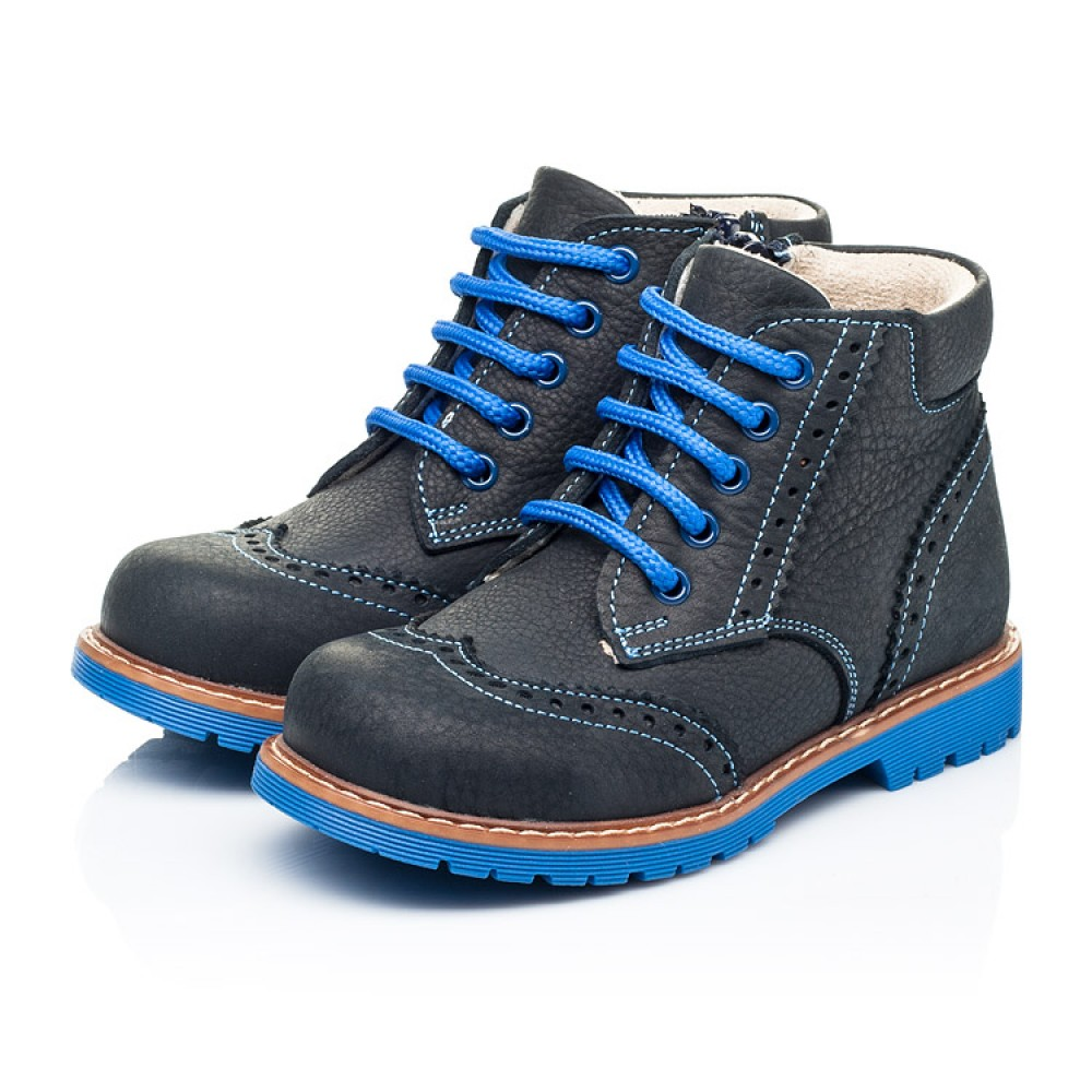 Детские демисезонные ботинки Woopy Orthopedic синие для мальчиков натуральный нубук размер 22-36 (7180) Фото 3