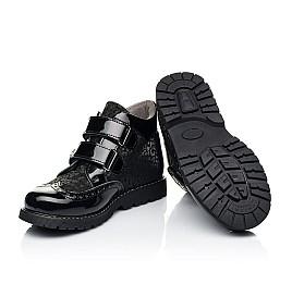 Детские демисезонные ботинки Woopy Orthopedic черные для девочек натуральный нубук, лаковая кожа размер 31-39 (7182) Фото 2