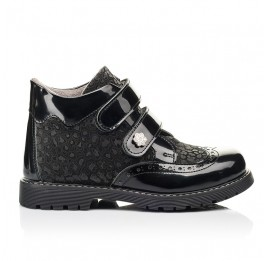 Детские демисезонные ботинки Woopy Orthopedic черные для девочек натуральный нубук, лаковая кожа размер 31-39 (7182) Фото 4