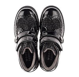 Детские демисезонные ботинки Woopy Orthopedic черные для девочек натуральный нубук, лаковая кожа размер 31-39 (7182) Фото 5