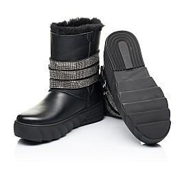 Детские зимние сапоги на меху Woopy Fashion черные для девочек натуральная кожа размер 32-39 (7185) Фото 2