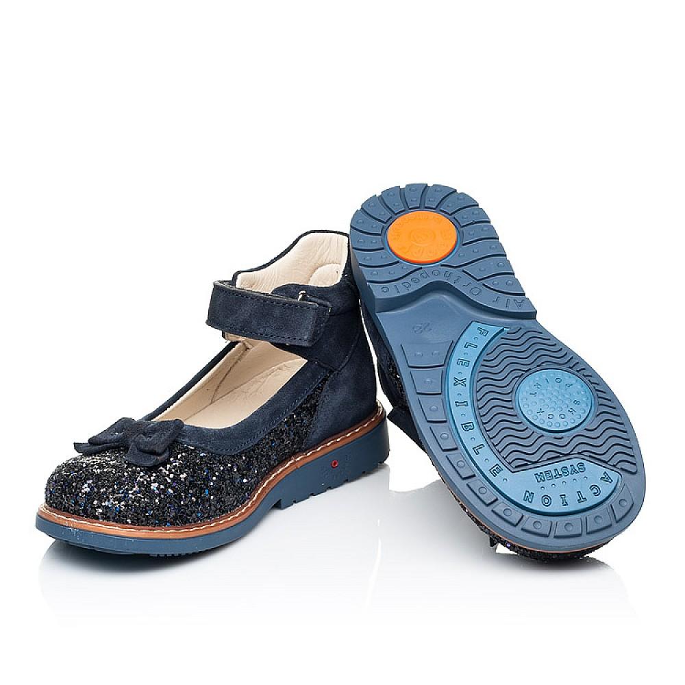 Детские туфли Woopy Orthopedic синие для девочек натуральный нубук и искусственный материал размер 26-33 (7186) Фото 2