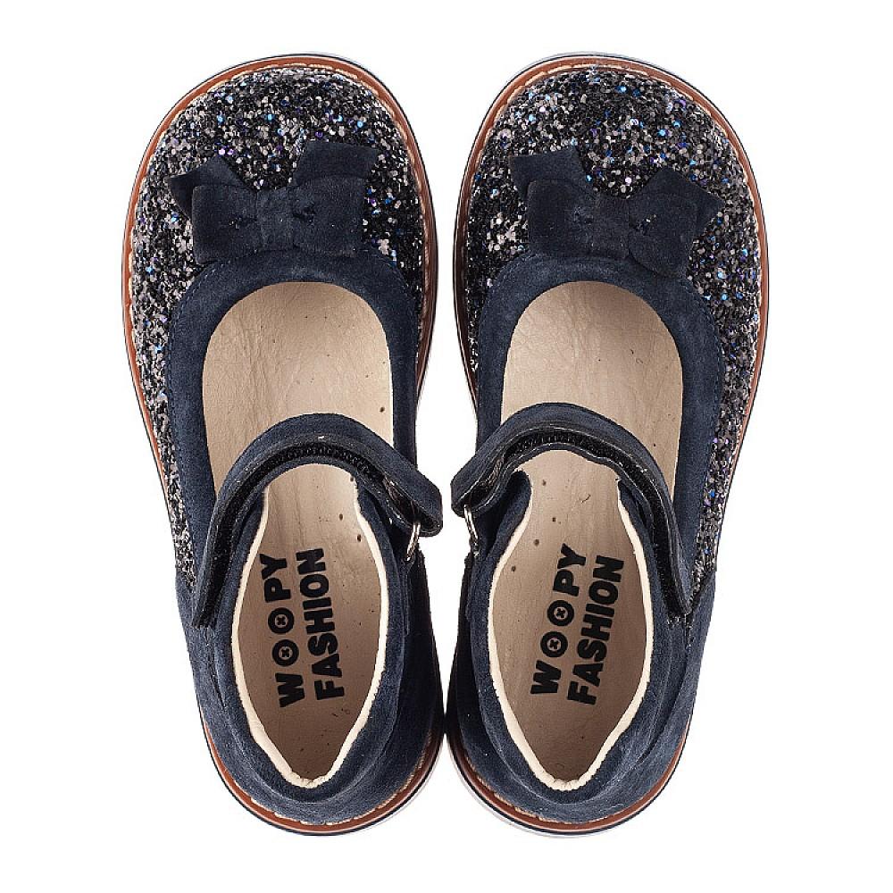 Детские туфли Woopy Orthopedic синие для девочек натуральный нубук и искусственный материал размер 26-33 (7186) Фото 5