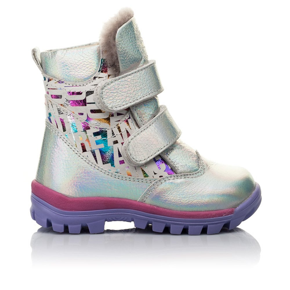 Детские зимние ботинки на меху Woopy Fashion разноцветные для девочек натуральная кожа размер 21-33 (7189) Фото 4