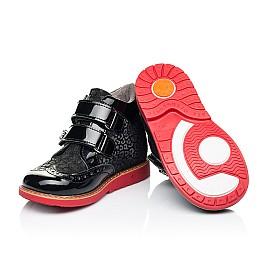 Детские демисезонные ботинки Woopy Orthopedic черные для девочек лаковая кожа, нубук размер 19-30 (7190) Фото 2