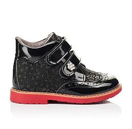 Детские демисезонные ботинки Woopy Orthopedic черные для девочек лаковая кожа, нубук размер 19-30 (7190) Фото 4