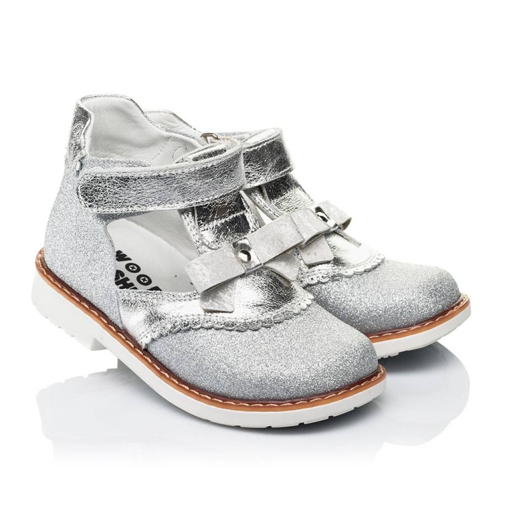 Детские туфли Woopy Orthopedic серебряные для девочек натуральная кожа, искусственный материал размер 23-30 (7195) Фото 1