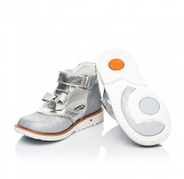 Детские туфли Woopy Orthopedic серебряные для девочек натуральная кожа, искусственный материал  размер 23-30 (7195) Фото 2